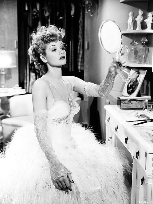 Beautiful Young Lucille Ball Looking in a Hand Mirror