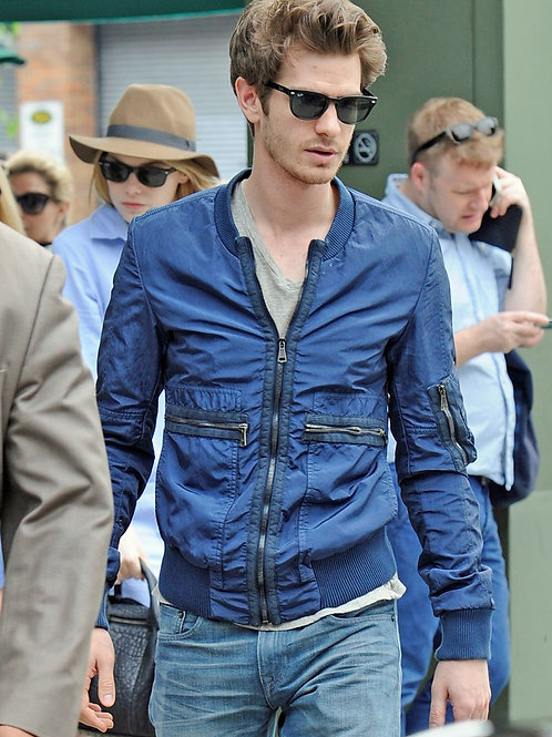 Andrew Garfield Wearing a Blue Jacket & Sunglasses