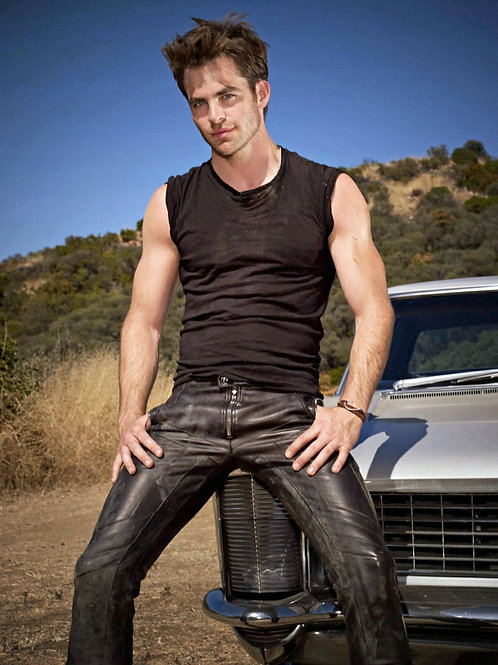 Chris Pine in Tight Leather Pants & a Blank Tanktop