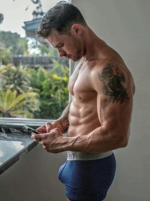 Shirtless Bulging Man Texting