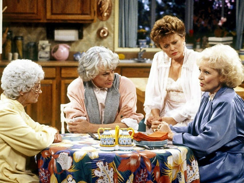 Cast of The Golden Girls Sitting around the Kitchen Table