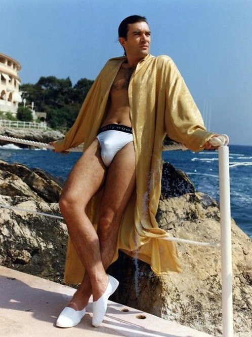 Antonio Banderas by the Ocean Bulging in a White Swimsuit