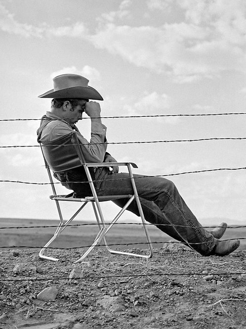 James Dean Relaxing Behind the Scenes of the Movie Giant in 1956