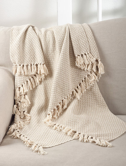 Tassled Throw Beige