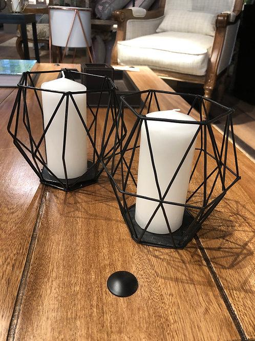 Set x2 Candelabros Geometrícos Negros