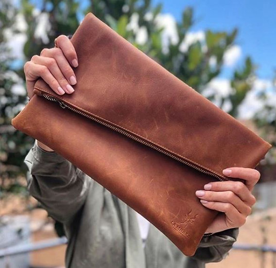 Honey Leather Clutch