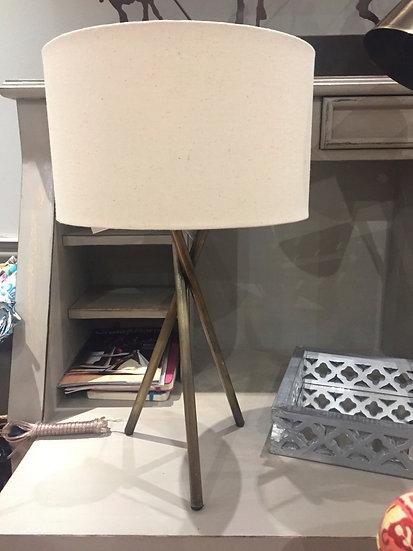 Lampara de mesa trípode bronce