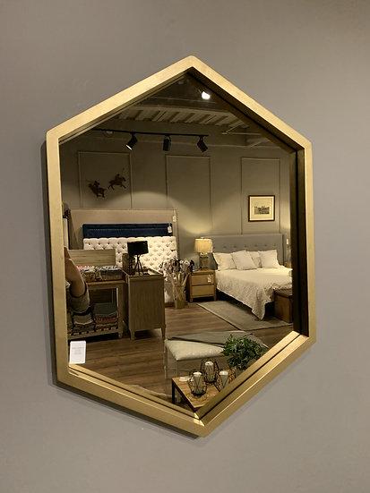 Espejo hexagonal dorado