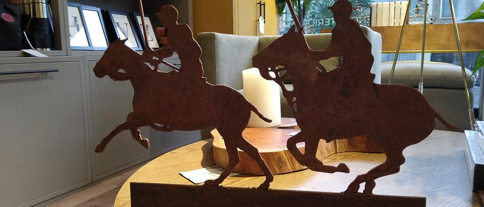 Escultura 2 caballos polo en hierro
