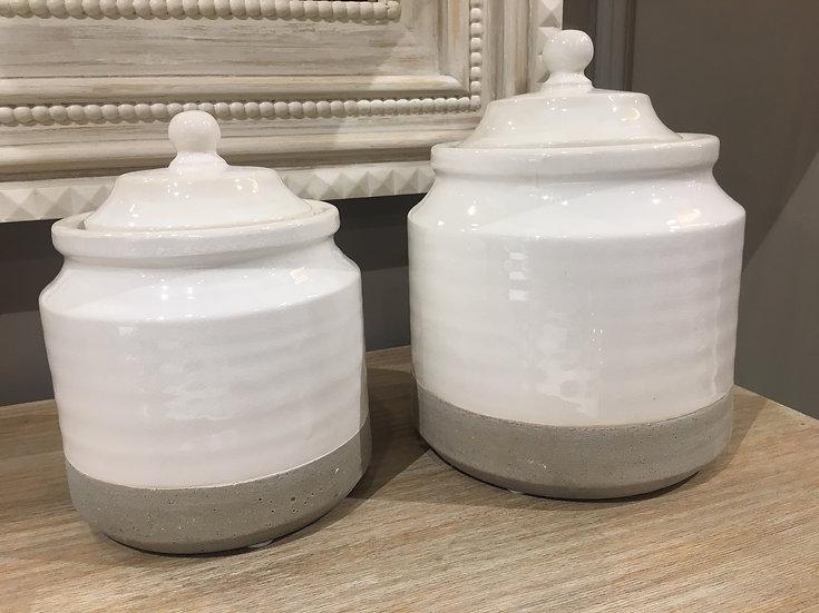 Set Jarrones Blanco y Piedra