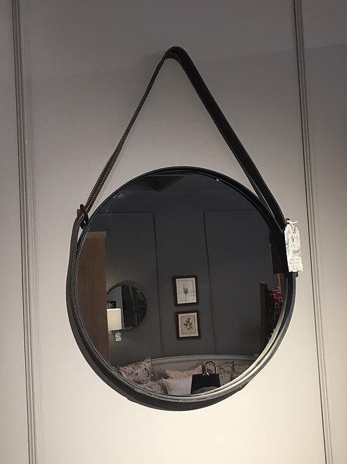 Espejo Redondo con Cuero