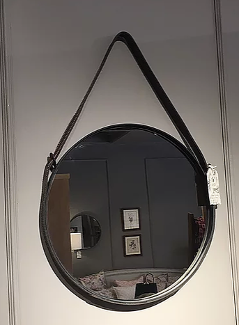 Espejo Redondo Negro Marco Metalico