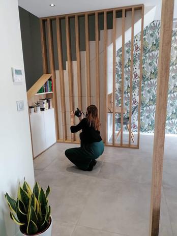 Réception d'un chantier avec prise de photos.