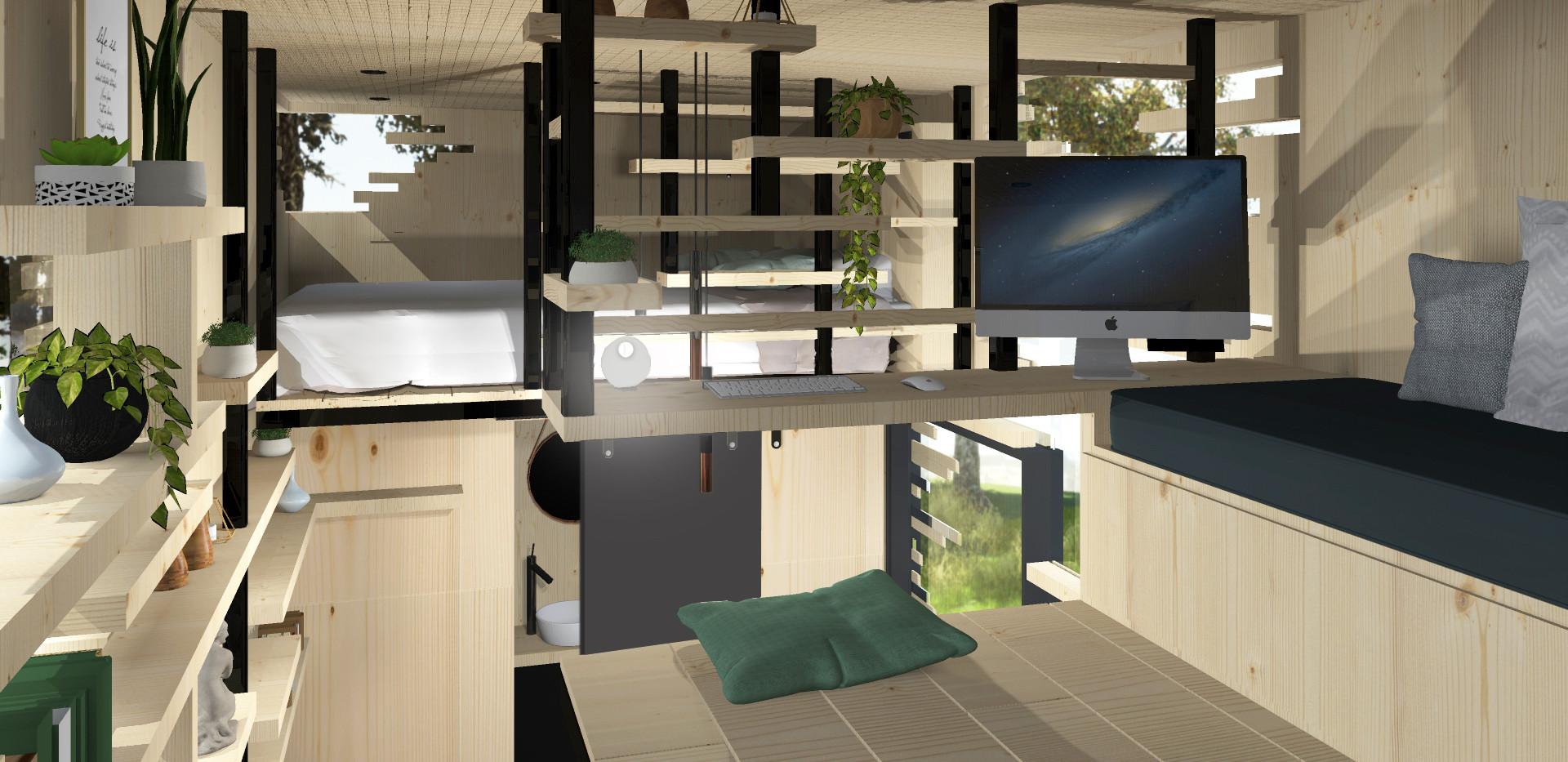Conception Symbiose Tiny House pour le concours Fondation Huttopia à Lyon
