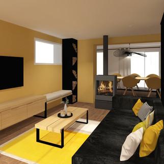 Projet Jaune de Cobalt, Agencement d'une pièce à vivre d'une maison