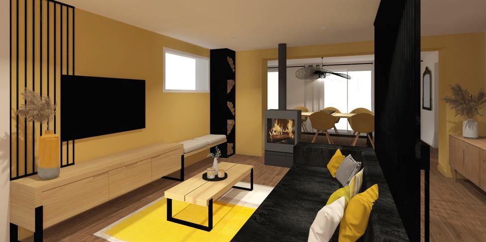 Rénovation maison Ecully claustra poêle