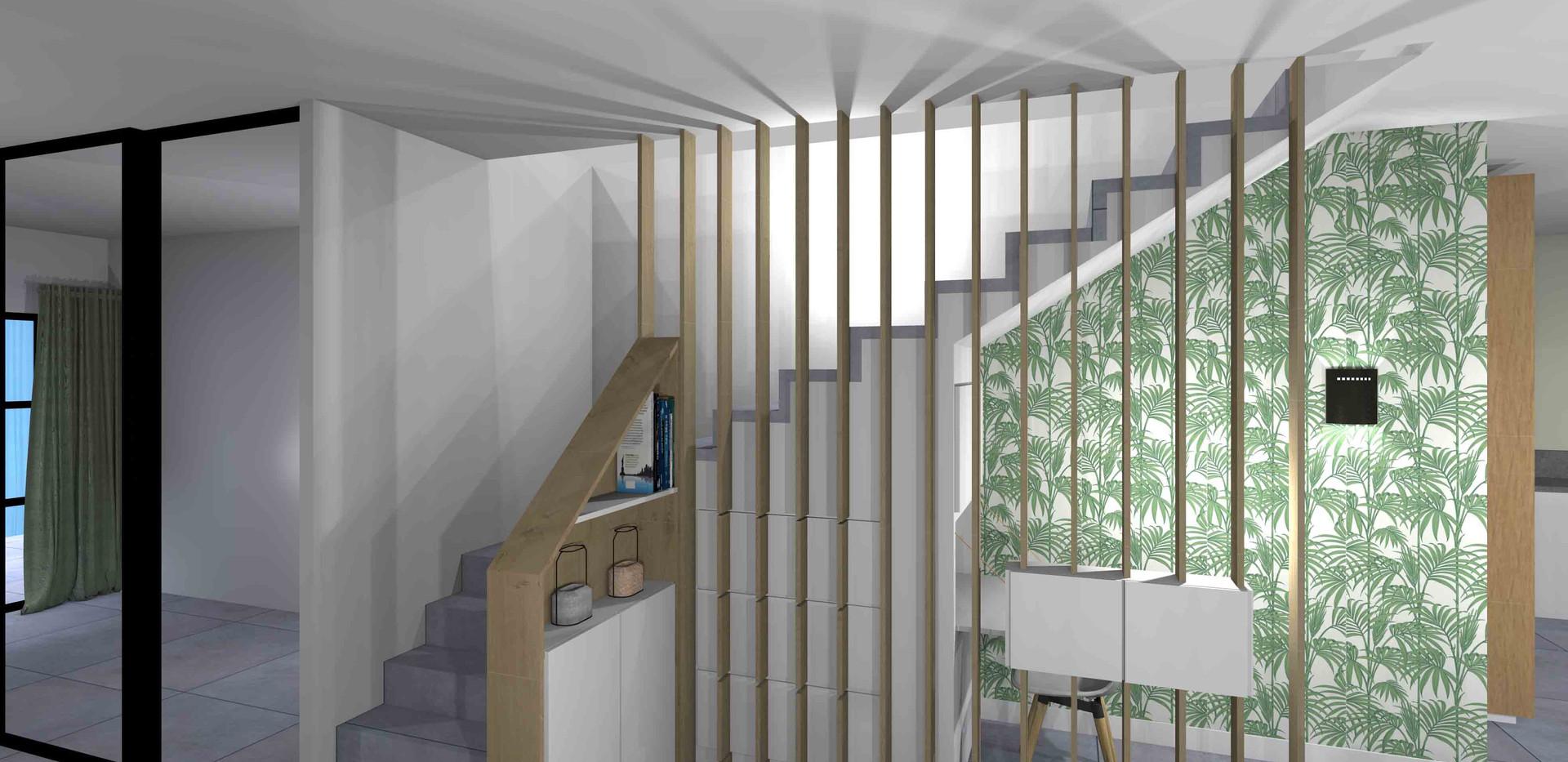 Aménagement menuiserie sur-mesure bois d'une maison individuelle à Lyon Monchat