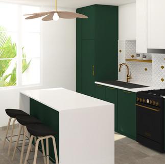 Vert amazone - Rénovation de cuisine dans une maison à la campagne
