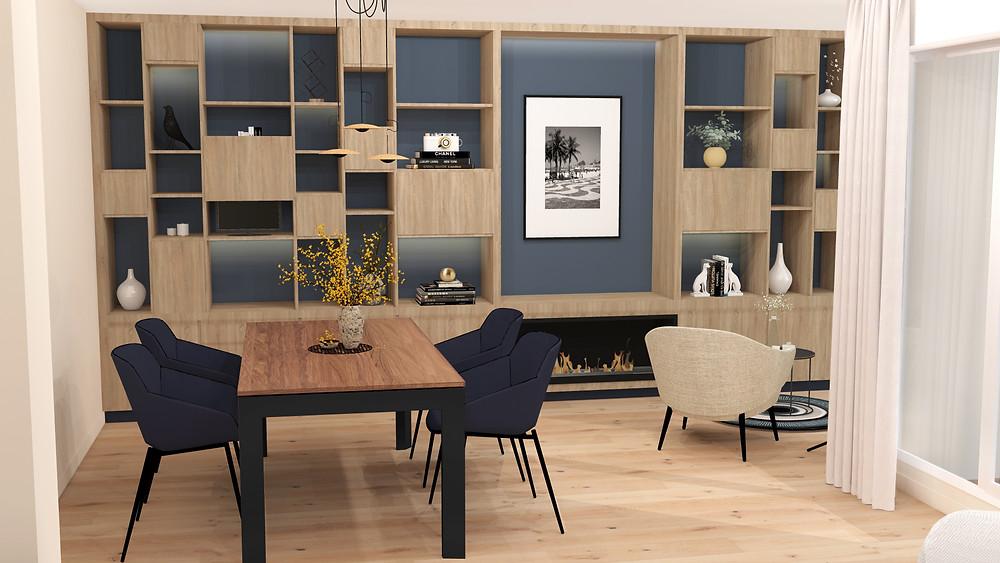 Agencement d'une pièce à vivre d'une maison, meuble sur mesure en stratifié imitation bois Egger, cheminée electrique, fauteuil Boconcept, tapis made in design, suspensions et lampadaire