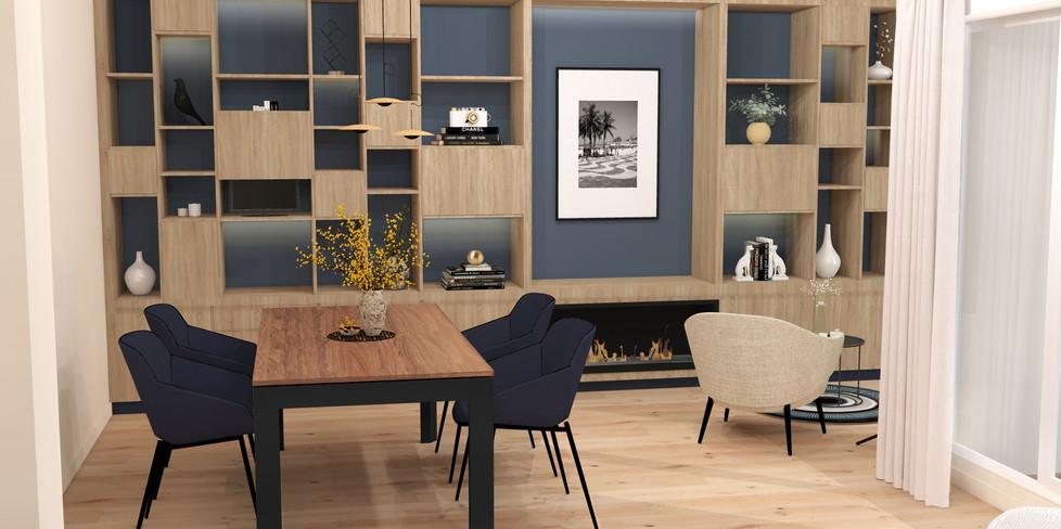 Architectes intérieur Lyon conception d'une bibilothèque sur-mesure pour le salon d'un appartement à Croix Rousse dans Lyon