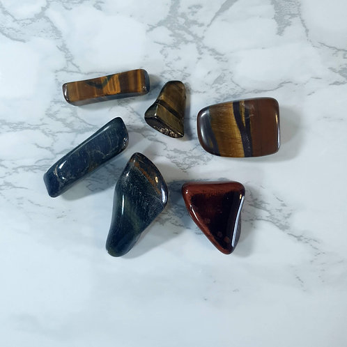 Red, Gold and Blue Tiger's Eye Tumbled Stone Bag