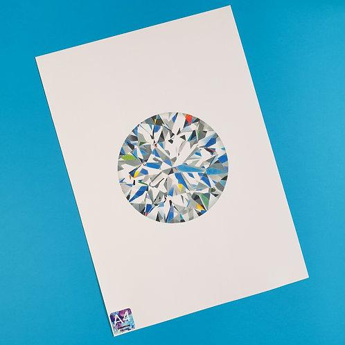 A4 Round Brilliant cut Diamond Print