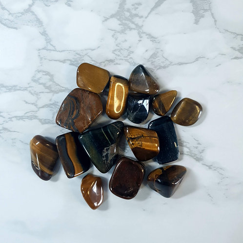 Gold and Blue Tiger's Eye Tumbled Stone Bag