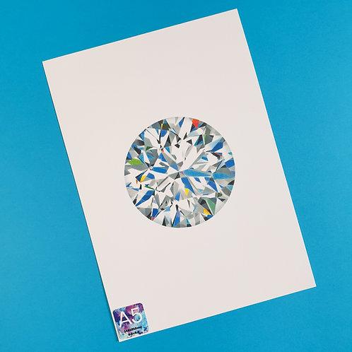 A5 Round Brilliant cut Diamond Print