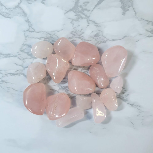 Pink Quartz Tumbled Stone Bag