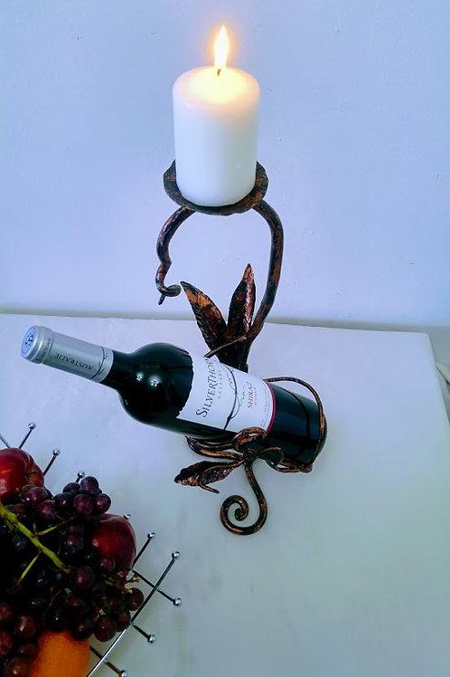 Suport clasic sticla de vin cu lumanare