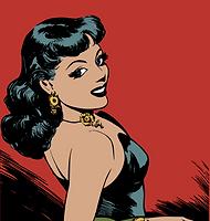 Cartoon Woman Looking Back