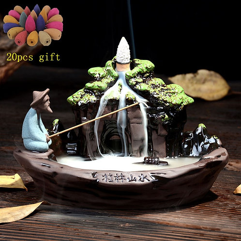 Backflow Incense Burner + 20Pcs Incense Cones