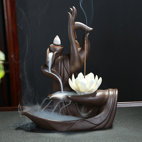 10Pcs Cones Purple Clay Incense Burner Buddha
