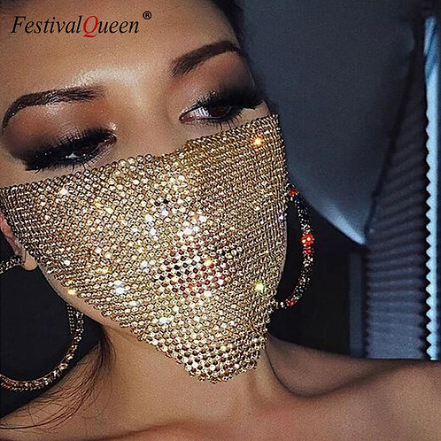 Trendy Reticulated Rhinestone Sequin Bling Mask