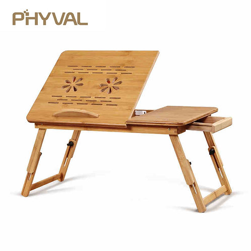 Portable Folding Bamboo Laptop Table Sofa Bed Office