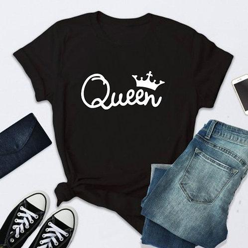 Queen Letter Print T Shirt Women