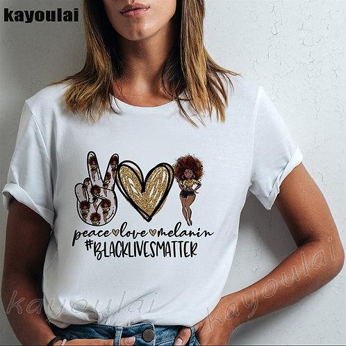 Peace Love Melanin Black Queen Afro Lady Shirt