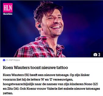 Koen Wauters toont nieuwe tattoo