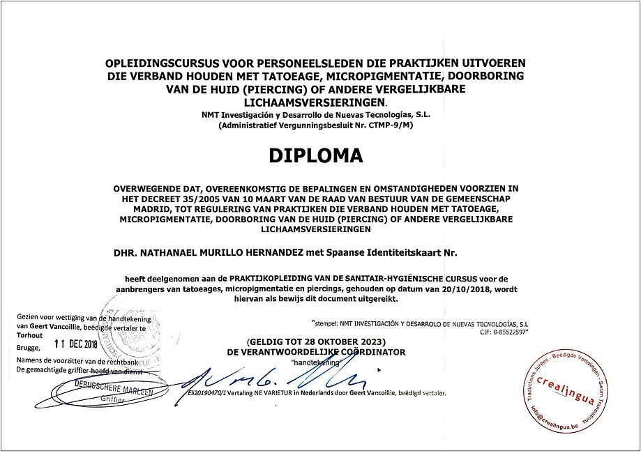 European certificate - Decree 35-2005 (1