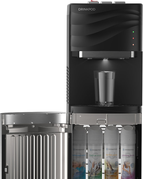 Drinkpod 100 Series water purification, filtration, and cooler appliance, with stainless steel cabinet open, displaying notification lights, hot, cold, and ambient termperature mode features, and sediment, pre-carbon, UF ultra filtration, and post carbon filter pods.