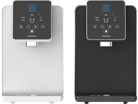 Drinkpod 1000 Series in black and white color options. Featuring ULTRA+3 (sediment, pre-carbon, UF ultra membrane filtration, and post carbon filtration, UV ultra violet filtration, environmentally aware touch controls, and three temperature modes.