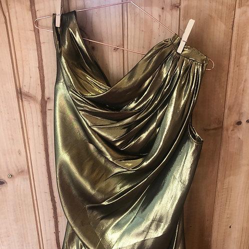 Lauren Bagliore Pure Silk Metallic Drape Top
