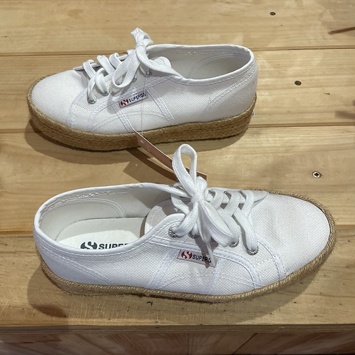 Superga Canvas Sneaker with Jute Wedge