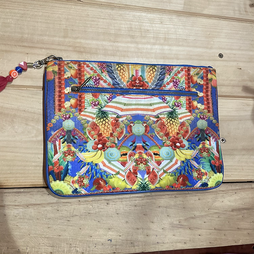 Camilla Clutch Large Blue & Red