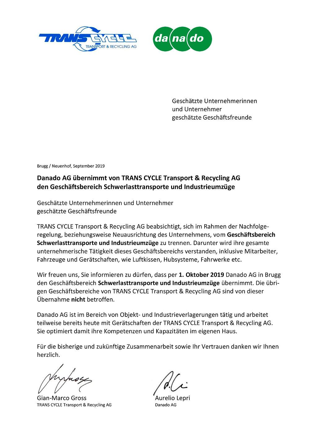 Übernahme Transcycle Schwerlasttransporte Industrieumzüge