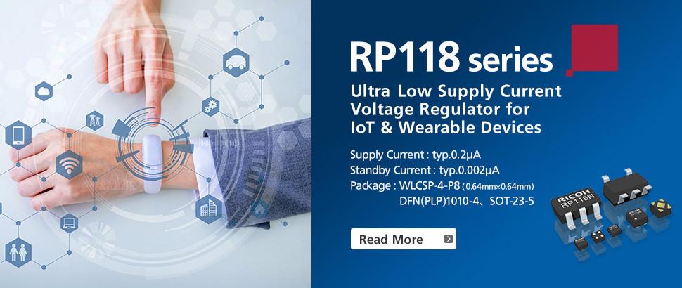 RP118 Series 100 mA Low Supply Current 0.2 µA Voltage Regulator (LDO Regulator)