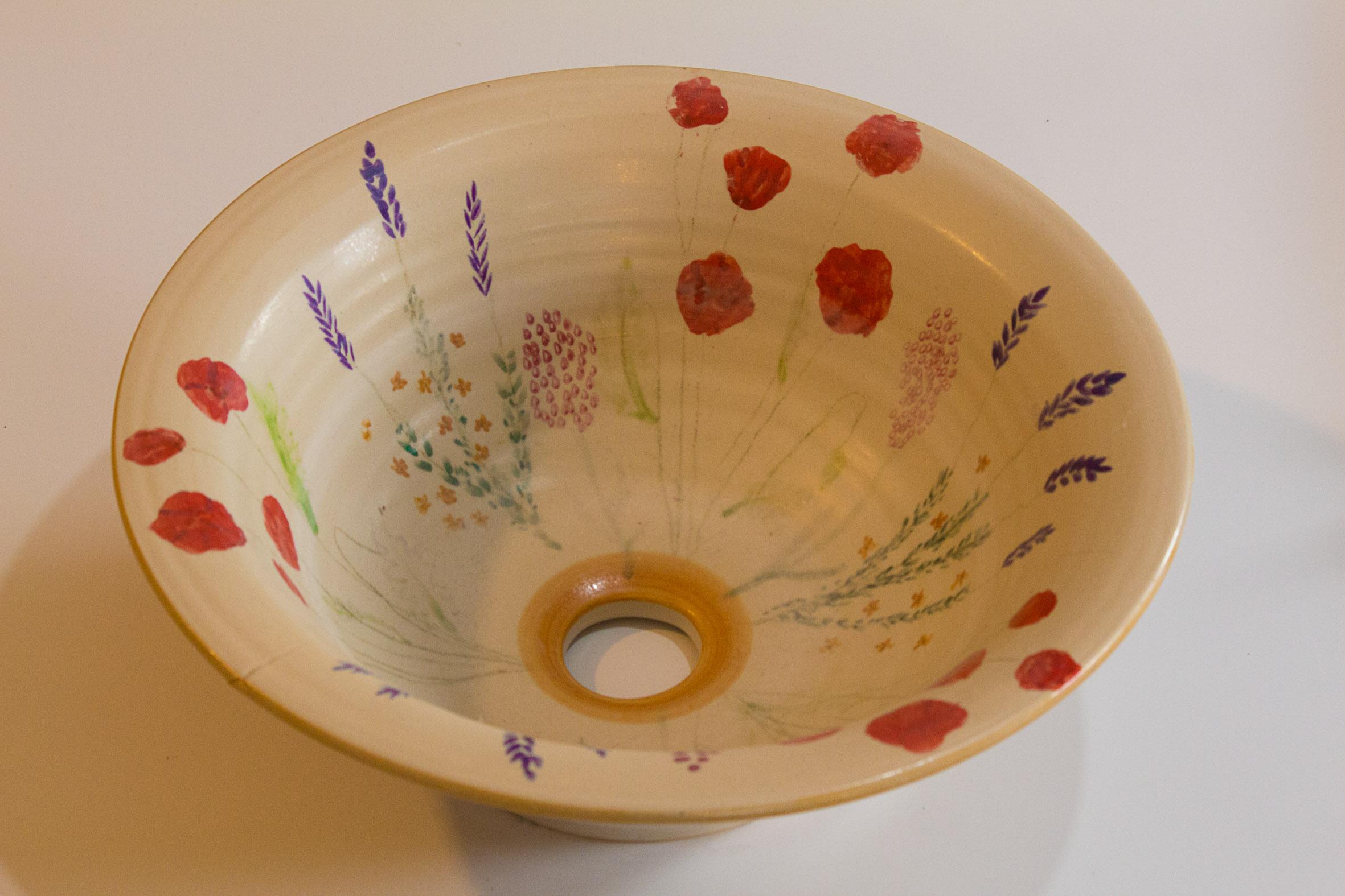 Handmade washbasin, poppy series