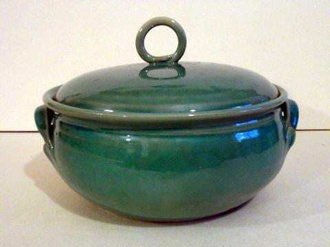 casserole, emerald green glaze