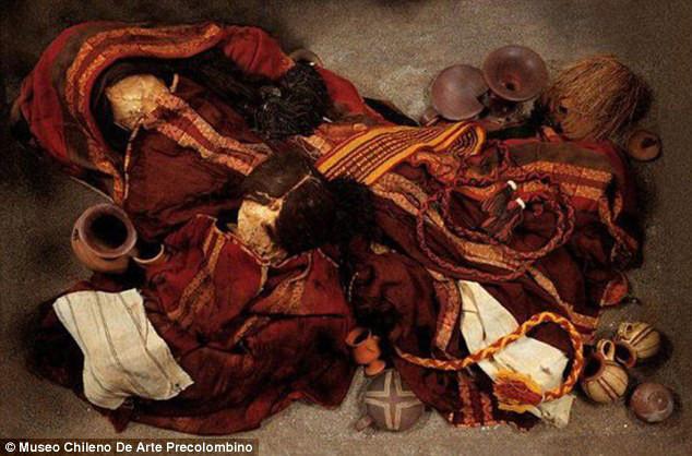 Cinnabar found in Inca Burial clothing