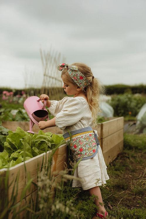 Vintage floral green belt + matching head scarf